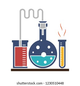 chemistry laboratory test tubes isolated vector - toxic experiment illustration sign . pharmacology and biotechnology equipment sign symbol