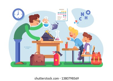 Chemistry lesson in classroom vector illustration. Teacher explaining new material to pupils and making interesting experiments with chemical agent flat style concept. Schoolroom interior