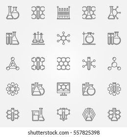 Chemistry line icons - vector set of chemistry concept signs or science logo elements in thin line style