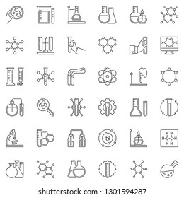 Chemistry linear icons set. Microscope, atom, flask, test-tube, chemical reaction outline symbols