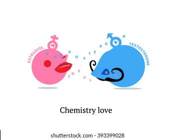 Chemistry love. Science of love. Hormones of love. Libido. Love at first sight. Hormones infographics. Hormone action. Funny illustration.
