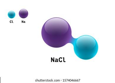 Chemistry model salt molecule diatomic sodium chlorine NaCl scientific element formula. Integrated particles inorganic 3d molecular structure consisting. Two volume atom combination eps vector spheres