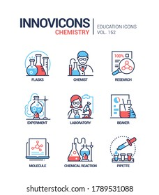 Chemistry - modern line design style icons set. Education and science idea. Flasks, chemist, research, scientific experiment, laboratory, beaker, molecule, chemical reaction, pipette images