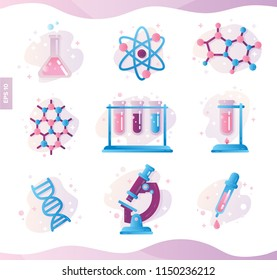 Chemistry and molecule model vector icon illustration set. Structure of molecules in chemistry, laboratory, education teacher poster concept art.Physic elements and medic equipment isolated on white