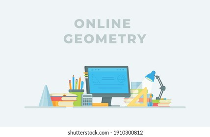 Chemistry online. Vector illustration of conducting an experiment in class. The student's workplace.