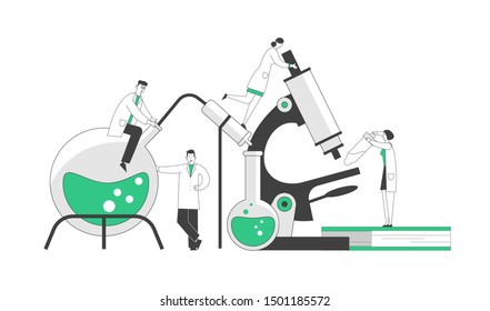Chemistry, Pharmaceutical Concept. Miniature People Scientists in Chemical Laboratory with Huge Equipment Microscope, Books and Flasks. Science Research. Cartoon Flat Vector Illustration, Line Art
