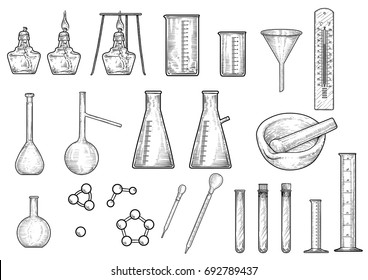 Chemistry or physics equipments collection illustration, drawing, engraving, ink, line art, vector