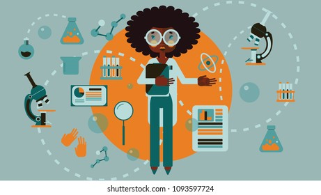 Chemistry science african american woman flat vector icon set infographic