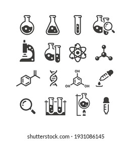Chemistry and science black vector icon set. Test tubes, microscope, atom and molecule symbols.