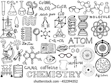 Chemistry Science Doodle Handwriting Elements. Science and School Education theme.