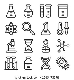Chemistry science laboratory outline vector icon set. Pharmacy and chemistry, education and science elements and equipment