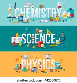 Chemistry, science, physics words with flat scientific icons. Vector illustration concept horizontal banners set. Typography posters design