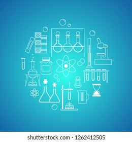 chemistry, science. set of linear white icons on blue background. experiment, research, chemical reactions. vector illustration.
