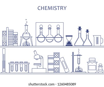 chemistry, science. shelf with solutions, flasks and books. vector illustration.