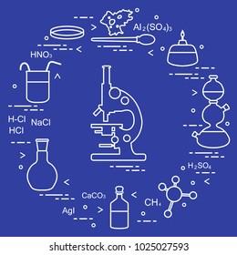 Chemistry scientific, education elements: microscope, Petri dish, dropper, flasks, camera Kippa, formulas, beaker, burner, amoeba. Design for banner, poster or print.