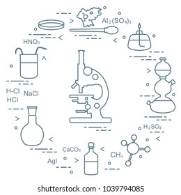Chemistry scientific, education elements: microscope, Petri dish, dropper, flasks, formulas, beaker, burner, amoeba. Design for banner, poster or print.