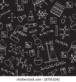 Chemistry scientist vector seamless pattern.