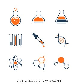 Chemistry simple vector icon set - bottles, tubes, liquids, dna, molecules and atoms
