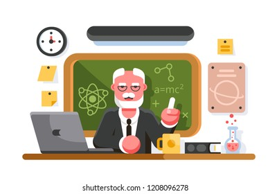 Chemistry teacher in classroom on blackboard background. Professor in classroom. Education concept. Flat. Vector illustration.