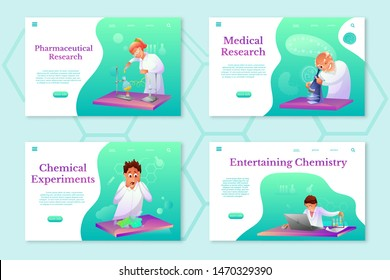 Chemistry theme landing pages set. Scientific lab workers flat illustrations set. Medic testing cure in medical laboratory. Biologist looking in microscope. Biochemist making researches