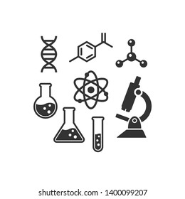 Chemistry vector icon set. Black isolated laboratory science icons. Dna chain, microscope, lab flask molecule and atom symbols.