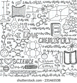 """Chemistry vector seamless pattern with formulas, calculations and laboratory equipment, """"I love chemistry"""", """"handwritten on a grid copybook paper"""""""