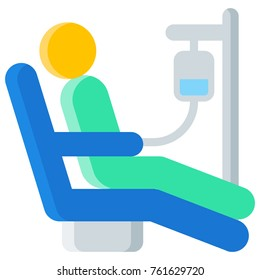 Chemotherapy flat icon. Vector illustration of a patient undergoing chemo treatment for cancer. Person attached to iv drip isolated on white background.