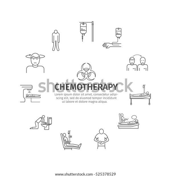 Chemotherapy Line Icons Set Medicine Infographics Stock