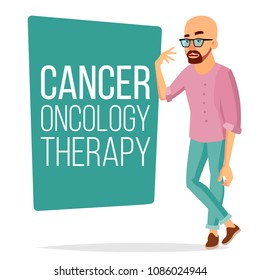 Chemotherapy Patient Man Vector. Sick Male With Cancer. Medical Oncology Therapy Concept. Treatment. Hairless. Diagnostic. Clinic Diagnose Poster Design. Isolated Flat Cartoon Illustration