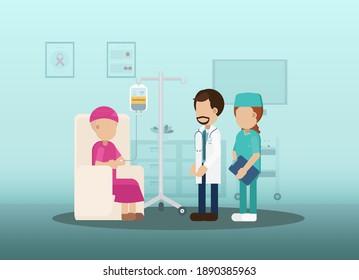 Chemotherapie-Raum mit Patient und medizinischem Personal Flaches Design, Vektorgrafik