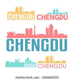 Chengdu China Flat Icon Skyline Vector Silhouette Design Set