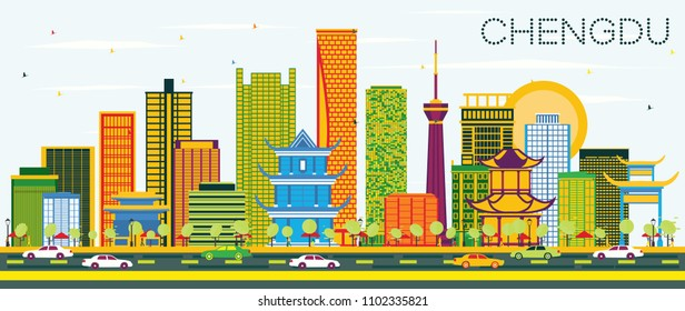 Chengdu China Skyline with Color Buildings and Blue Sky. Vector Illustration. Business Travel and Tourism Concept with Modern Architecture. Chengdu Cityscape with Landmarks.