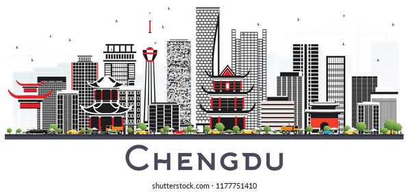 Chengdu China Skyline with Gray Buildings Isolated on White. Vector Illustration. Business Travel and Tourism Concept with Modern Architecture. Chengdu Cityscape with Landmarks.