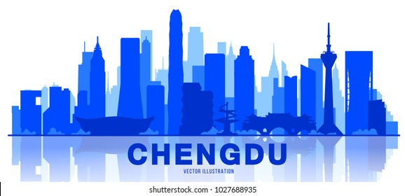 Chengdu city silhouette skyline on a white background (China) Flat vector illustration. Business travel and tourism concept with modern buildings. Image for banner or web site.