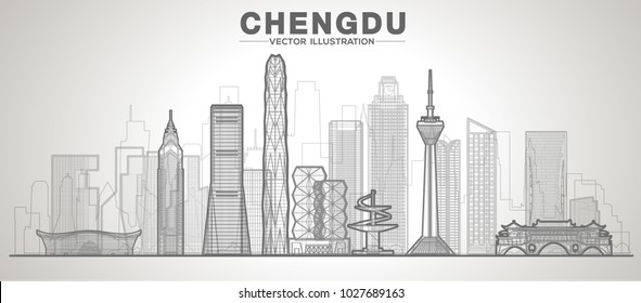 Chengdu line city skyline on a white background (China) Flat vector illustration. Business travel and tourism concept with modern buildings. Image for banner or web site.