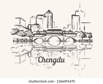 Chengdu skyline hand drawn.Anshun Bridge (Dongmen) Chengdu sketch style vector illustration.