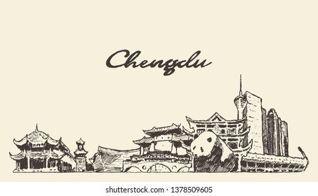 Chengdu skyline, Sichuan province, China, hand drawn vector illustration, sketch