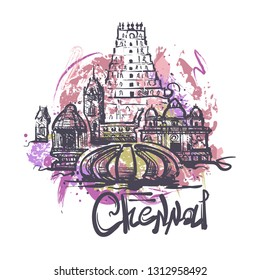 Chennai abstract color drawing. Chennai sketch vector illustration isolated on white background.