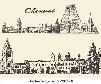 Chennai, big city architecture, vintage engraved illustration, hand drawn, sketch