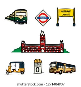 Chennai City Hand Drawn Elements
