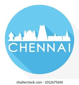 Chennai India Asia Flat Icon Skyline Silhouette Design City Vector Art Famous Buildings