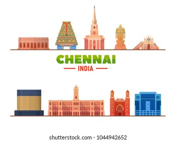 Chennai ( India ) city landmarks in white background. Vector Illustration. Business travel and tourism concept with modern buildings. Image for presentation, banner, placard and web site.