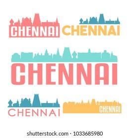 Chennai India Flat Icon Skyline Vector Silhouette Design Set Badge Logo.