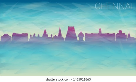 Chennai India Silhouette Skyline Vector city. Broken Glass Abstract Geometric Dynamic Textured. Banner Background. Colorful Shape Composition.