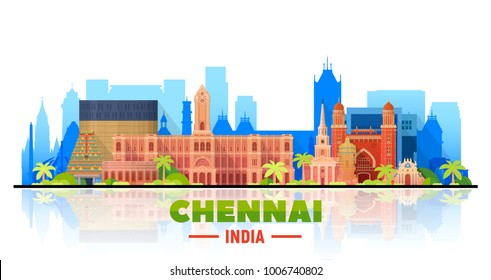 Chennai ( India ) skyline with panorama in white background. Vector Illustration. Business travel and tourism concept with modern buildings. Image for presentation, banner, placard and web site.