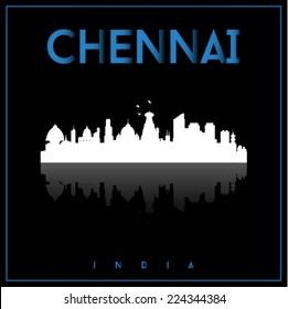Chennai, India skyline silhouette vector design on black background.