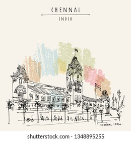 Chennai (Madras), Tamil Nadu, India. Central railway station. Beautiful British era colonial building in India. Travel sketch. Hand drawing. Vintage hand drawn Chennai postcard. Vector illustration