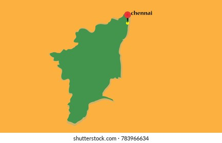 CHENNAI pinned on a map of TAMIL NADU