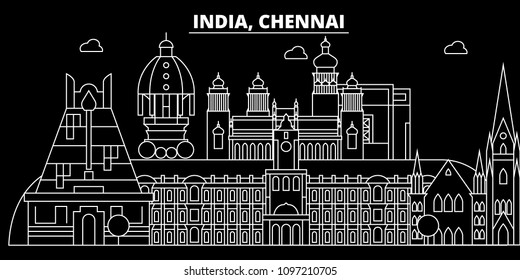 Chennai silhouette skyline. India - Chennai vector city, indian linear architecture, buildings. Chennai travel illustration, outline landmarks. India flat icons, indian line banner