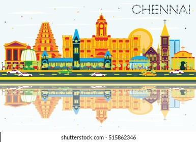 Chennai Skyline with Color Landmarks, Blue Sky and Reflections. Vector Illustration. Business Travel and Tourism Concept with Historic Architecture. Image for Presentation Banner Placard and Web Site.